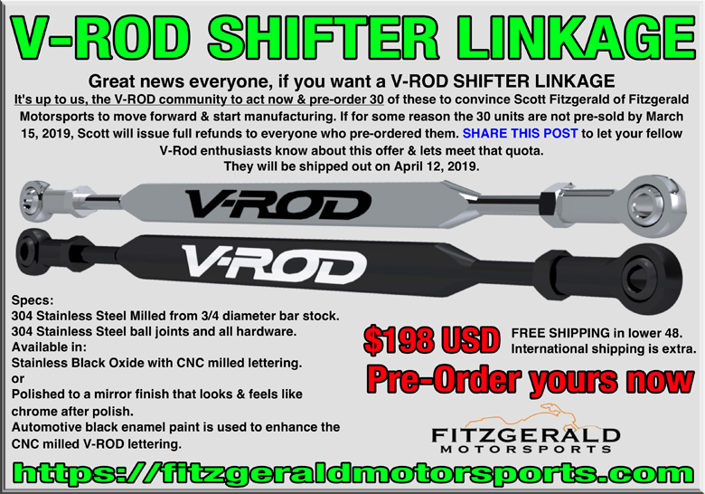 Vrod scripted shifter linkage by Fitzgerald Motorsports