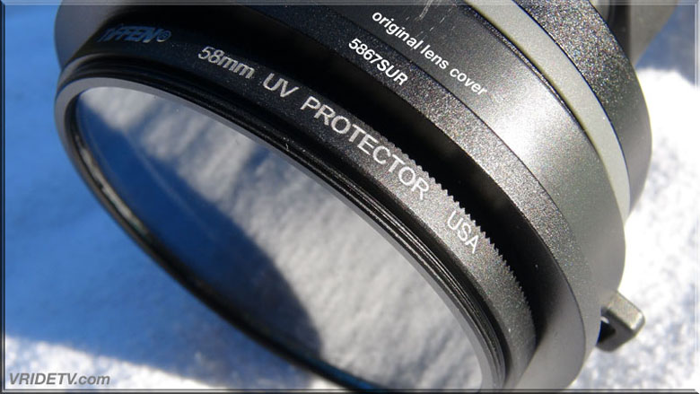 sony hxr mc1 wide angle lens with tiffen lens protector