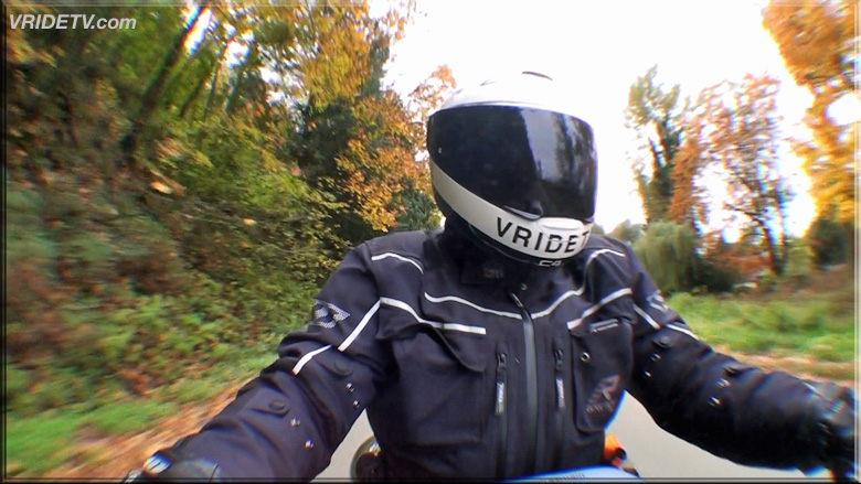Biker riding in the Fall
