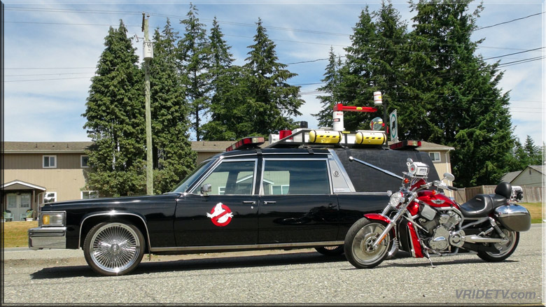 Ghostbusters car and motorcycle
