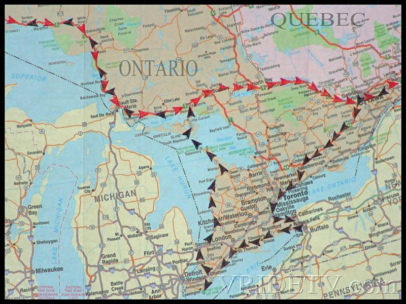 Map of route taken in Ontario and Quebec on a Motorcycle trip across Canada. vridetv.com Virtual Riding TV