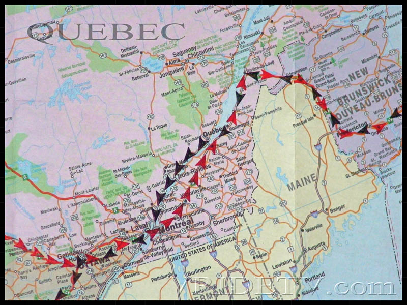 Map of route taken in Quebec and New Brunswick on a Motorcycle trip across Canada. vridetv.com Virtual Riding TV
