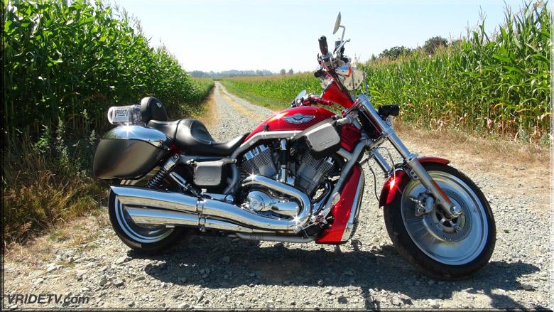 Motorcycle in corn field