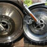Before and after shot of the front wheel. This rim was badly pitted from years of neglect by the previous owner, but with a lot of elbow grease and Autosol aluminum polish I was able to bring it back to how it should look.