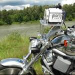 Motorcycle camera rig proven to be steady and reliable.
