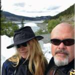 Diane and Jeff alongside Medicing Lake in Jasper National Park. Liberty Sport glasses protecting our eyes from the glare coming off the snow. Tilley Airflow hat never looked better than on Di : )