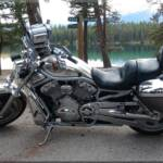Our Harley-Davidson Vrod camera bike at Annette Lake in Jasper National Park, Alberta Canada.