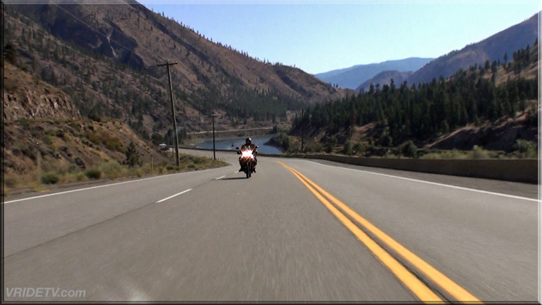 motorcycle rider in the fraser canyon with VRIDETVcom