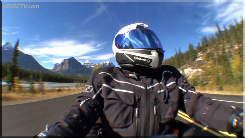 motorcycle rider in the Rockies