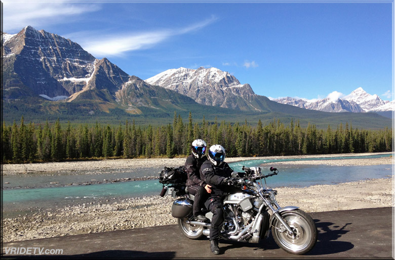 Motorcycle camera crew in the Rockies