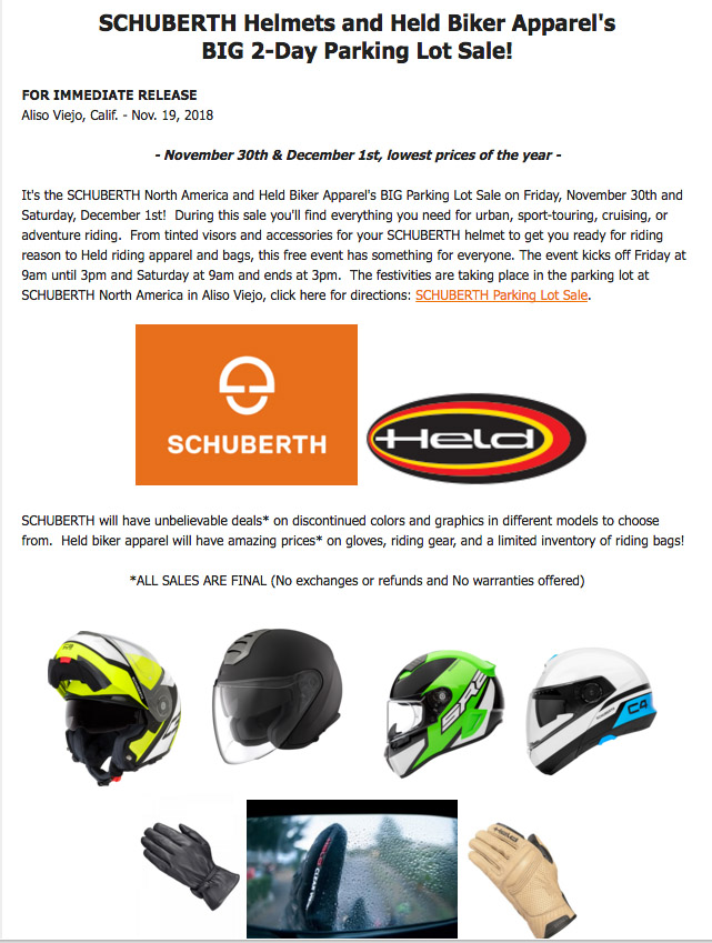 schuberth parking lot sale