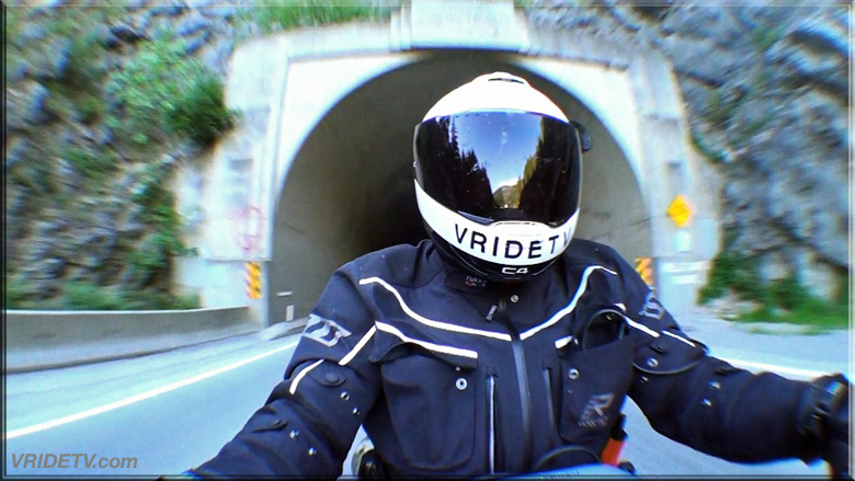 motorcycle rider at hells gate tunnel