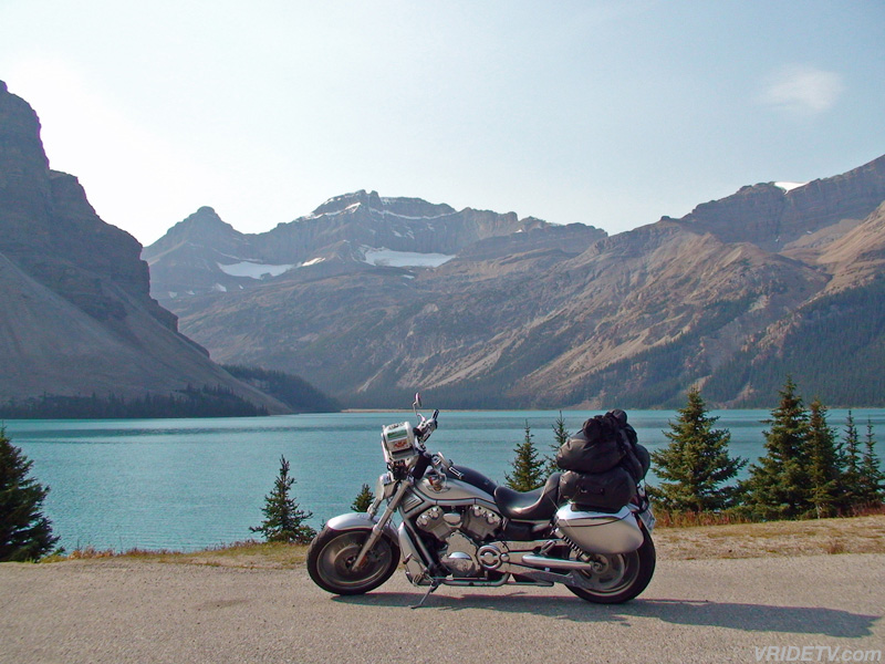 Motorcycle, lake and the Rocky mountains. Travel across Canada in high definition at vridetv.com Virtual Riding TV