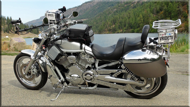 motorcycle with 4 professional video cameras