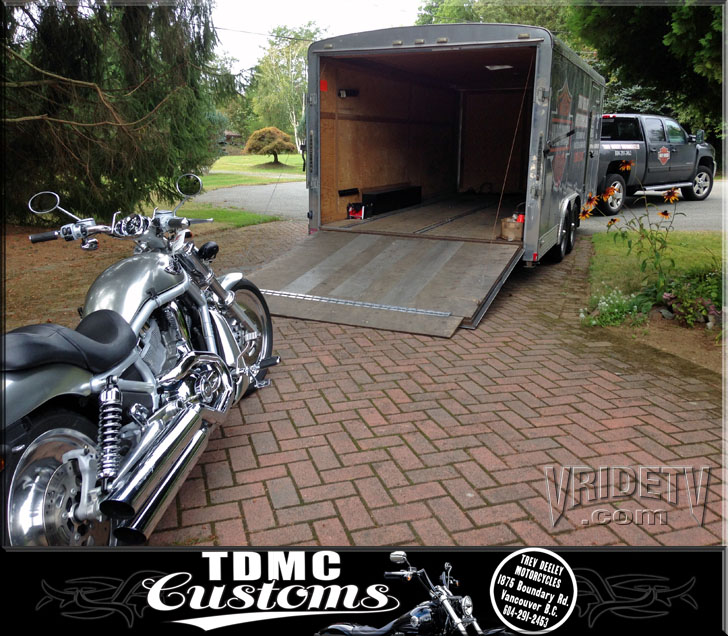 harley davidson vrod and Trev Deely truck trailer