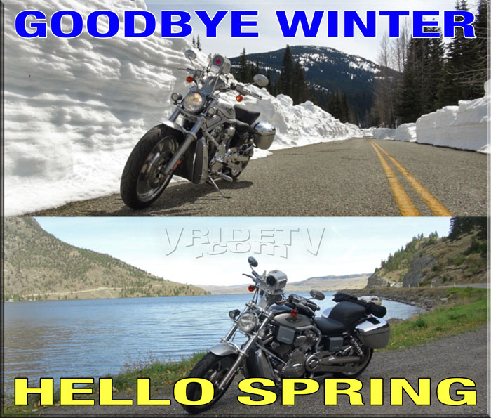 winter spring transition harley davidson vrod motorcycle